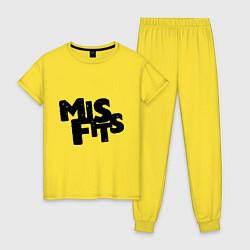 Пижама хлопковая женская Misfits цвета желтый — фото 1