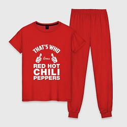 Пижама хлопковая женская That's Who Loves Red Hot Chili Peppers цвета красный — фото 1
