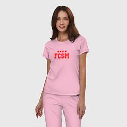 Пижама хлопковая женская FCSM Club цвета светло-розовый — фото 2