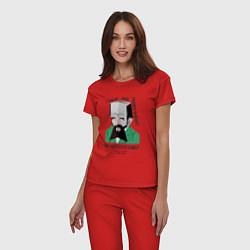 Пижама хлопковая женская Dostoevsky Crime цвета красный — фото 2