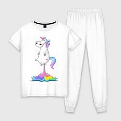 Пижама хлопковая женская Взлет единорога цвета белый — фото 1