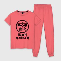 Пижама хлопковая женская Iron Maiden цвета коралловый — фото 1