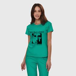 Пижама хлопковая женская Give Peace a Chance цвета зеленый — фото 2