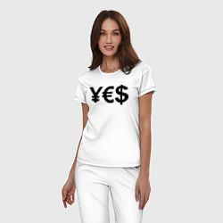 Пижама хлопковая женская YE$ цвета белый — фото 2