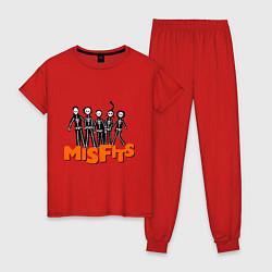 Пижама хлопковая женская Misfits Skeletons цвета красный — фото 1