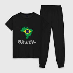 Пижама хлопковая женская Brazil Country цвета черный — фото 1