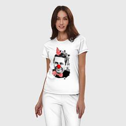 Пижама хлопковая женская Евгений Петросян клоун цвета белый — фото 2