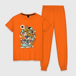 Пижама хлопковая женская Хипстер на самокате цвета оранжевый — фото 1
