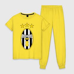 Пижама хлопковая женская Ювентус цвета желтый — фото 1