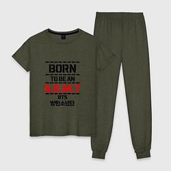 Пижама хлопковая женская Born to be an ARMY BTS цвета меланж-хаки — фото 1
