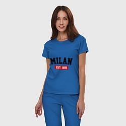 Пижама хлопковая женская FC Milan Est. 1899 цвета синий — фото 2