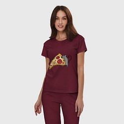 Пижама хлопковая женская Кусочек пиццы парная цвета меланж-бордовый — фото 2
