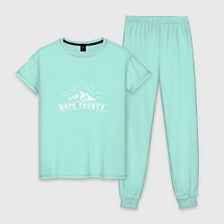 Пижама хлопковая женская Hope Count: Mountain цвета мятный — фото 1