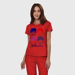 Пижама хлопковая женская The Beatles faces цвета красный — фото 2