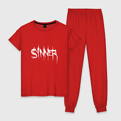 Пижама хлопковая женская Real Sinner цвета красный — фото 1