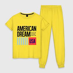 Пижама хлопковая женская American Dream цвета желтый — фото 1