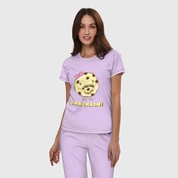 Пижама хлопковая женская Cake: Omnomnom! цвета лаванда — фото 2