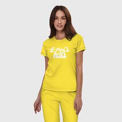 Пижама хлопковая женская Mob Psycho 100 цвета желтый — фото 2