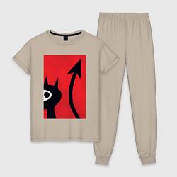Пижама хлопковая женская Дьявольская Люси цвета миндальный — фото 1