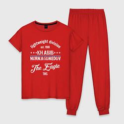 Пижама хлопковая женская Khabib Nurmagomedov est. 1988 цвета красный — фото 1
