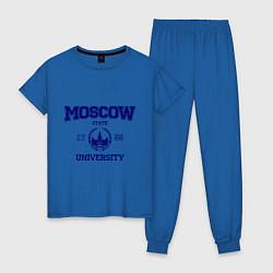 Пижама хлопковая женская MGU Moscow University цвета синий — фото 1