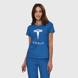 Пижама хлопковая женская TESLA Mobile цвета синий — фото 2