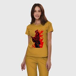 Пижама хлопковая женская Убийца гоблинов цвета горчичный — фото 2