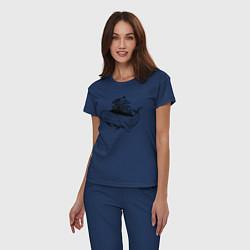 Пижама хлопковая женская Whale forest цвета тёмно-синий — фото 2