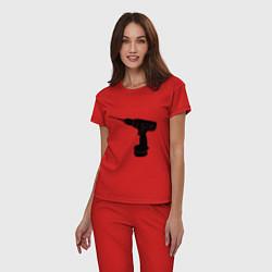 Пижама хлопковая женская Она: перфоратор цвета красный — фото 2