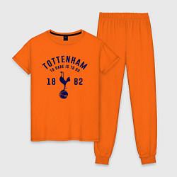 Пижама хлопковая женская FC Tottenham 1882 цвета оранжевый — фото 1