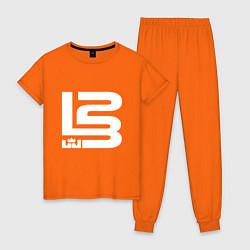 Пижама хлопковая женская Lebron James цвета оранжевый — фото 1