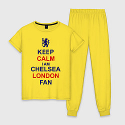 Пижама хлопковая женская Keep Calm & Chelsea London fan цвета желтый — фото 1