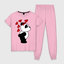 Пижама хлопковая женская Поцелуй панды: для нее цвета светло-розовый — фото 1