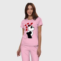 Пижама хлопковая женская Поцелуй панды: для нее цвета светло-розовый — фото 2