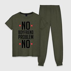 Пижама хлопковая женская No Boyfriend цвета меланж-хаки — фото 1