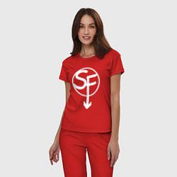 Пижама хлопковая женская SANITYS FALL цвета красный — фото 2