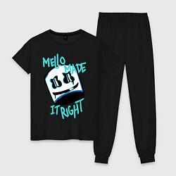 Пижама хлопковая женская Mello Made it Right цвета черный — фото 1