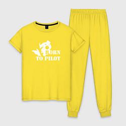 Пижама хлопковая женская Born to pilot цвета желтый — фото 1