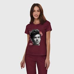 Пижама хлопковая женская Harry Styles цвета меланж-бордовый — фото 2