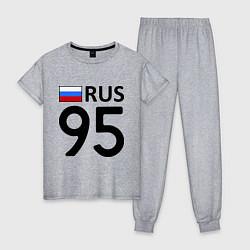 Пижама хлопковая женская RUS 95 цвета меланж — фото 1