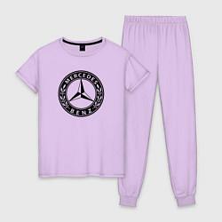 Пижама хлопковая женская MERCEDES-BENZ: Classic цвета лаванда — фото 1