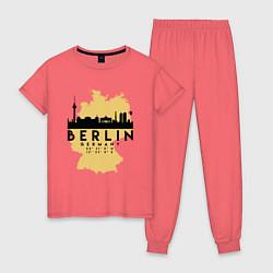 Пижама хлопковая женская Берлин - Германия цвета коралловый — фото 1