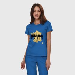 Пижама хлопковая женская Париж - Франция цвета синий — фото 2