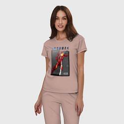 Пижама хлопковая женская Iron Man: Glitch Effect цвета пыльно-розовый — фото 2