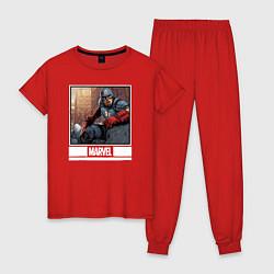 Пижама хлопковая женская Капитан Америка цвета красный — фото 1