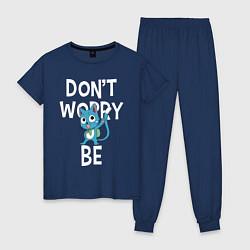 Пижама хлопковая женская Dont Worry be Fairy Tail цвета тёмно-синий — фото 1