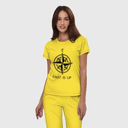 Пижама хлопковая женская TOP: East is Up цвета желтый — фото 2