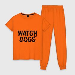 Пижама хлопковая женская Watch Dogs цвета оранжевый — фото 1
