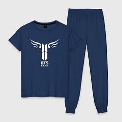 Пижама хлопковая женская BTS ARMY цвета тёмно-синий — фото 1