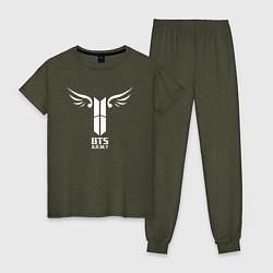 Пижама хлопковая женская BTS ARMY цвета меланж-хаки — фото 1